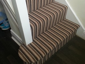 Striped Stairs and Landing Carpet in Stockport