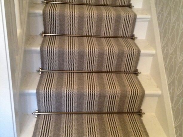 Striped Carpet With Stair Rods