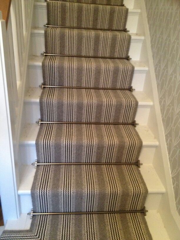 Striped Stair carpet with Stair-rods
